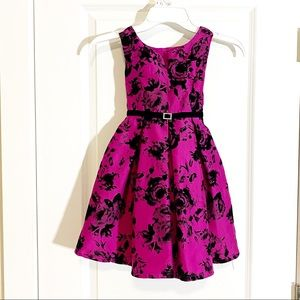 Fuchsia Pink Dress with Black Velour Flower 5